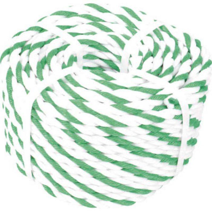 R9100WGN 標識ロープ 3つ打 7.5mm×100m 白・緑