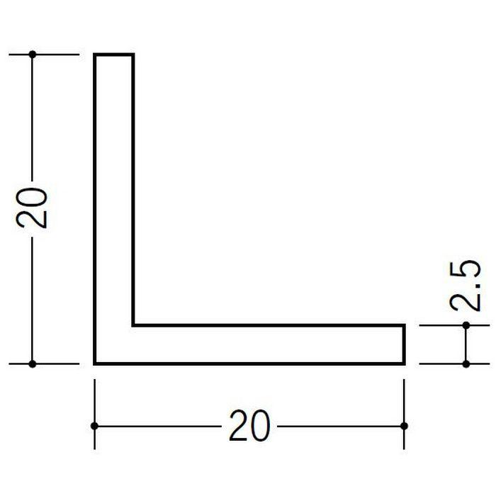 アングル 等辺 ビニール アングル20(t=2.0) ホワイト 2.73m  36333-2