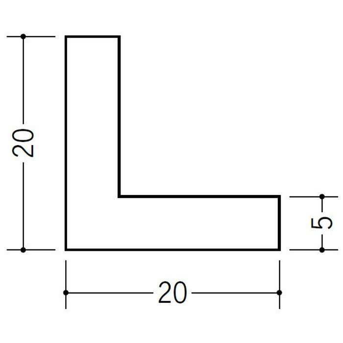 アングル 等辺 ビニール アングル20(t=5.0) ホワイト 2.73m  36191