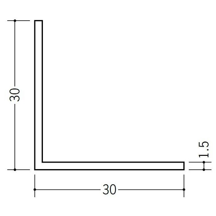 アングル 等辺 ビニール アングル30(t=1.5) ホワイト 2.73m  36012-2