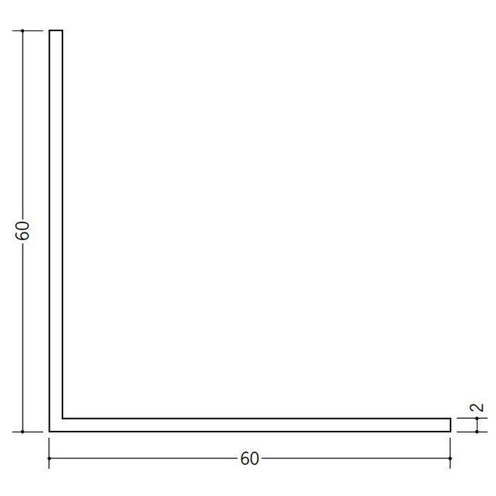 アングル 等辺 ビニール アングル60(t=2.0) ホワイト 2.73m  36351-2