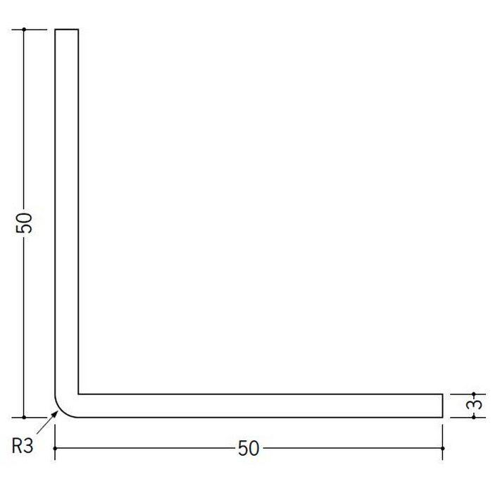 ソフトアングル 等辺 ビニール ソフトアングル3R50×50 ホワイト 2.5m  36021