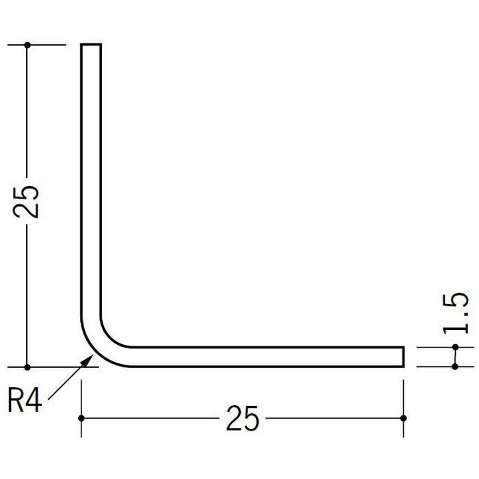 R付・面取りアングル 等辺 ビニール アングル4R25×25 ホワイト 1.82m  36029-1