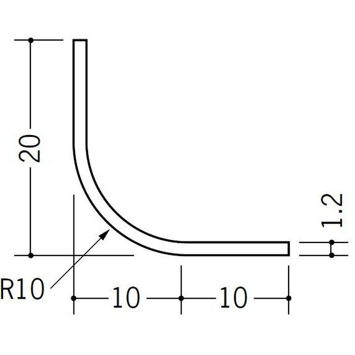 R付・面取りアングル 等辺 ビニール 10R-20×20 ホワイト 1.82m  01190-1