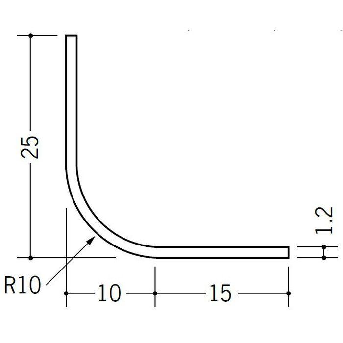 R付・面取りアングル 等辺 ビニール 10R-25×25 ホワイト 2.73m  01191-2