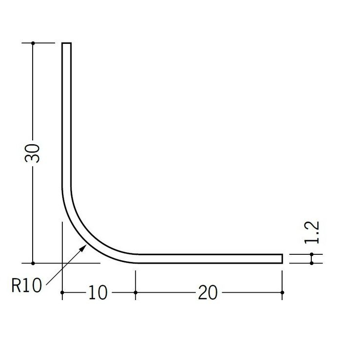 R付・面取りアングル 等辺 ビニール 10R-30×30 ホワイト 1.82m  01192-1