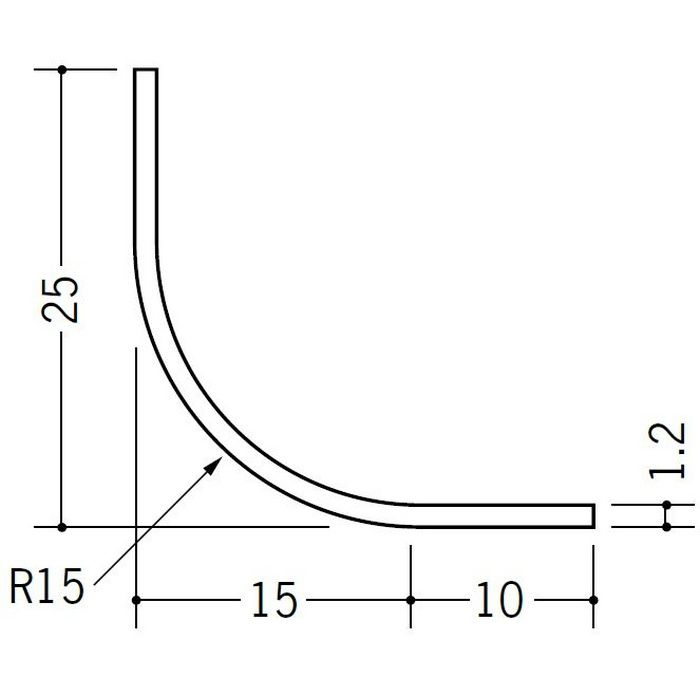R付・面取りアングル 等辺 ビニール 15R-25×25 ホワイト 2.73m  01193-2