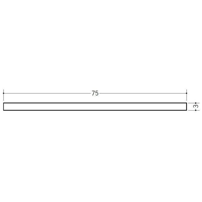 平角(フラットバー) ビニール 3×75 ホワイト 2m  35078